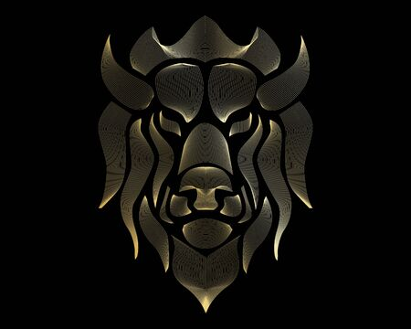 Linear stylized lion. Black and gold graphic. Vector illustration can be used as design for tattoo, t-shirt, bag, poster, postcard