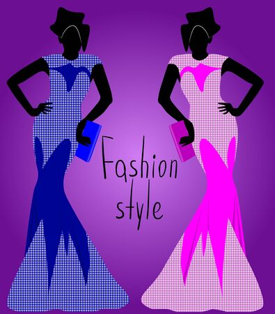 girl in blue dress, girl in a separate dress, silhouette, vector illustration Çizim