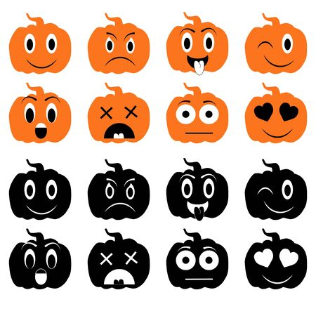 Set of 8 pumpkin emoticons in various facial expressions. Black and orange on a white background
