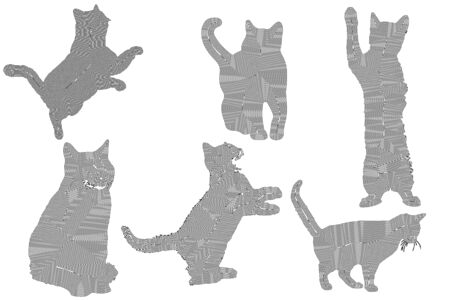 set of cats silhouette, black lines on a white background