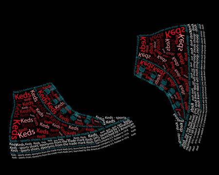 Sneakers, Typography, drawing letters, font drawing, red sneakers, vector illustration