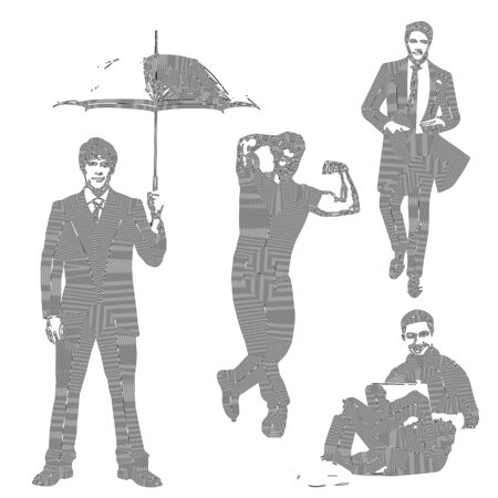 Men silhouette, set, man with umbrella, man with computer, linear art, vector illustration, eps 10 Illustration