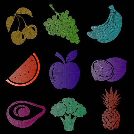 Set of fruit icons, fruit silhouette, colored fruits on a black background, cherry, grapes, banana, watermelon, apple, lemon, avocado, broccoli, pineapple, linear art, vector illustration, eps 10 Reklamní fotografie - 131894658