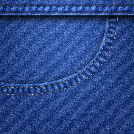 denim background, with pocket and yellow stitching, vector illustration, eps 10