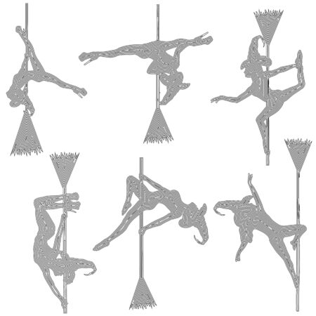 set of witch silhouette on a broomstick with black lines on a white background, vector illustration