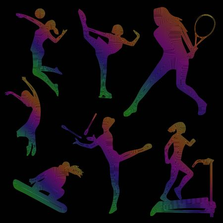 Silhouette of sports girls, sport icons, colored silhouette of a girl on a black background, linear art, vector illustration