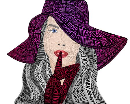 Typographic portrait, girl in a hat on a white background, vector illustration, eps 10