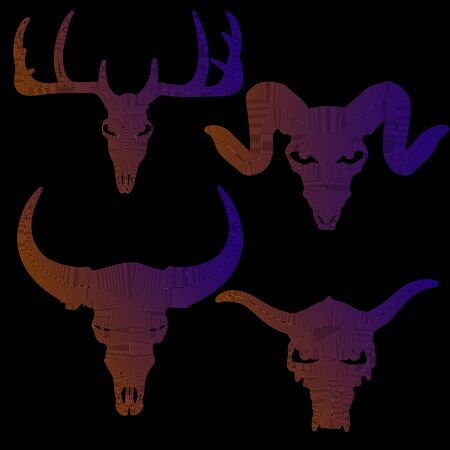 set of animal skull silhouette in color lines on white background, vector illustration Illustration