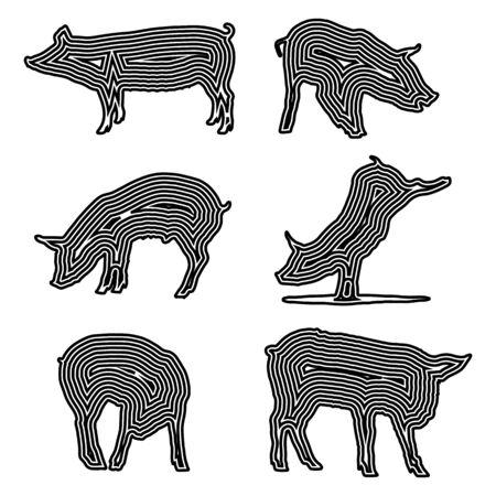 pig silhouette set, black lines on white background, vector illustration