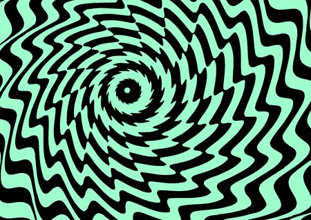 geometric illusion background, black and green curved lines, vector illustration