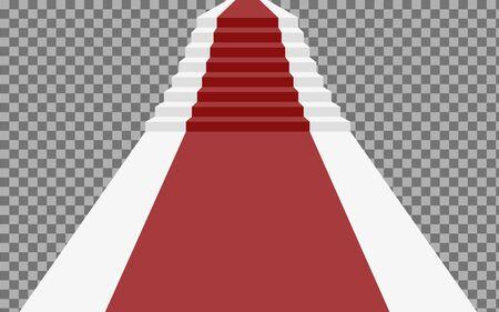 Escalier 3d avec tapis rouge. escalier pour célébrité ou escalier pour succès isolé sur fond transparent. Escalier 3d avec tapis rouge. Illustration vectorielle Vecteurs