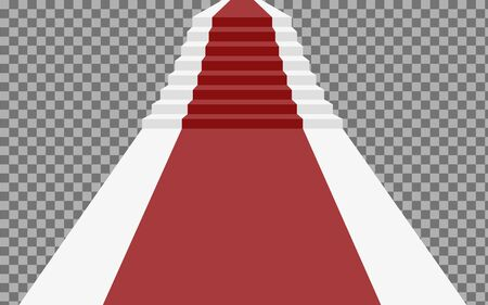 Staircase 3d with red carpet. staircase for celebrity or staircase to success isolated on a transparent background. Staircase 3d with red carpet. Vector illustration Ilustração