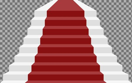 Realistic stone staircase with red carpet. Luxurious style. Vector illustration