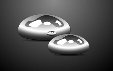 liquid iron, drops of metal on a gray background, glossy surface, vector illustration Vettoriali