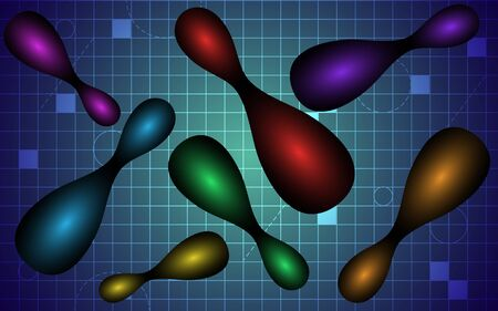 Modern trendy design. Vector illustration of 3d colored capsules. Abstract background Dynamic background. Vector illustration Illustration
