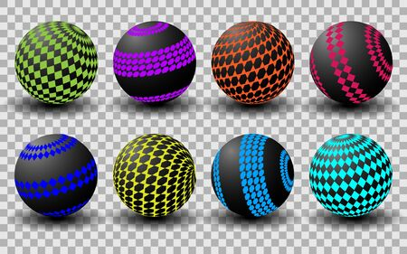 Black balls with a colored, geometric pattern on a transparent background, orange, green, pink. Vector illustration