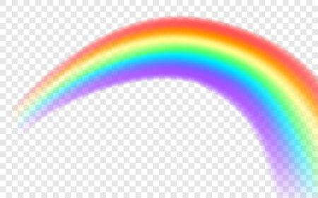 Regenboog pictogram. Realistische boogvorm geïsoleerd op transparante achtergrond. Grafisch voorwerp.