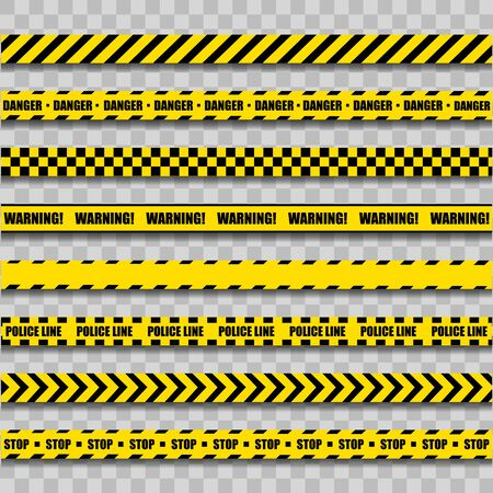 Police Warning Line. Yellow And Black Barricade Construction Tape On Transparent Background. Vector illustration