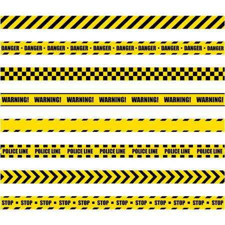 Linea di avvertimento della polizia. Nastro Di Costruzione Barricata Giallo E Nero Su Sfondo Bianco.