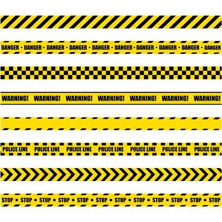 Warnlinie der Polizei. Gelbes und schwarzes Barrikaden-Bauband auf weißem Hintergrund.