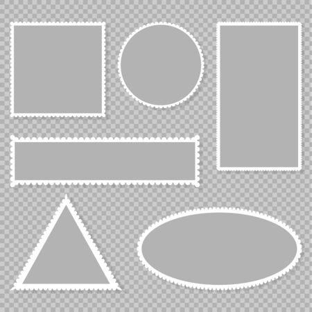 Set blank postage stamp on a transparent background.Toothed border mailing postal sticker template. Vector graphic design.