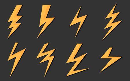 Flash 3D Icon Yellow Lightning Theme Sur un fond noir et brillant pour une bannière à prix réduit Publicité vendant des produits.