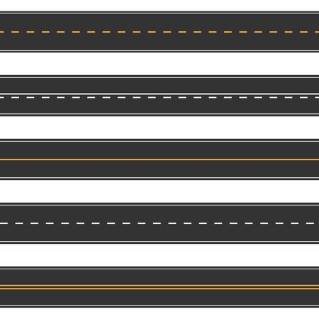 Horizontal straight seamless roads. Modern asphalt repetitive highways. Road asphalt straight seamless, highway street for transportation illustration.