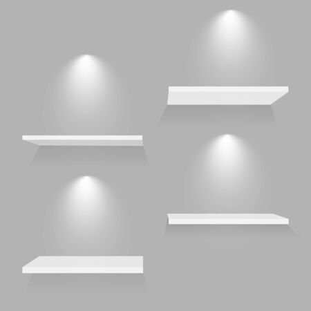 Realistic white shelves. Empty store bookshelf exposition shadows and lights on wall shop indoor. 3D museum interior vector template.