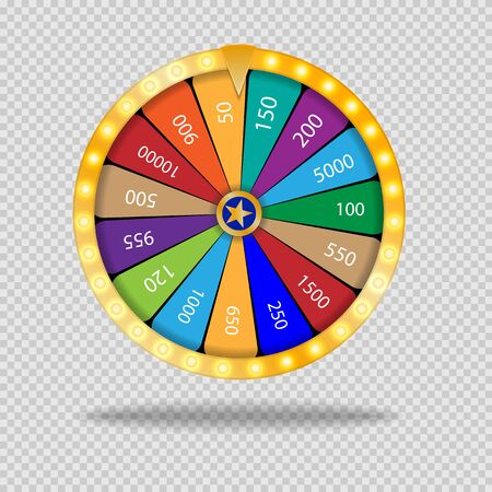 Wheel Of Fortune lottery luck illustration. Casino game of chance. Win fortune roulette. Gamble chance leisure Illustration