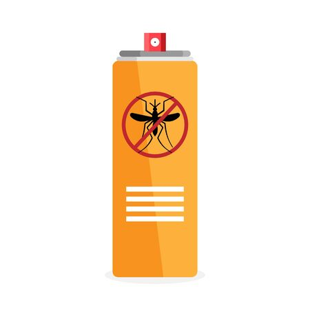 Aerosol from mosquitoes of mosquitoes and insects. Flat icon. Vector object isolated on white background Illustration