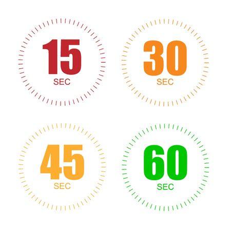Set di timer per 15, 30, 45, 60 secondi. icona del cronometro conto alla rovescia cronometro digitale di arresto. Vettoriali