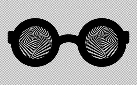 black hypnotic glasses isolated on a transparent background. Vector illustration. Çizim