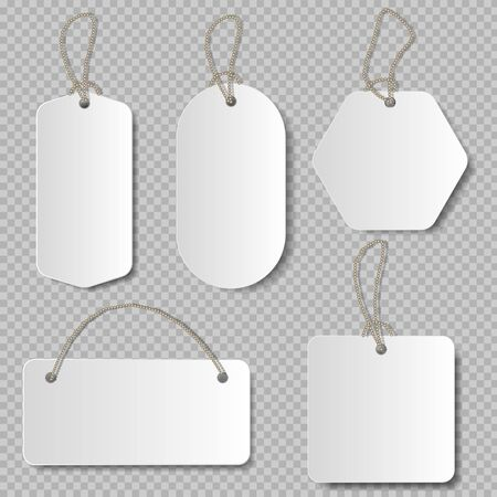 Realistic price tag. Cardboard label, paper sale tags mock up blank labels template shopping gift empty stickers with ropes tags set.