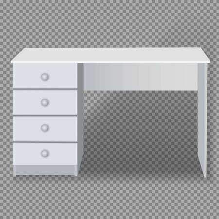 White desk with drawers on a transparent background. Isoliron Vector Object.