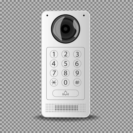 Modern intercom with a white camera on a transparent background. Isolated vector illustration. Illusztráció