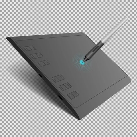 graphic tablet in black with a pen on a transparent background. Isolated vector illustration