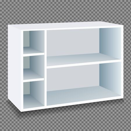 Cupboard with shelves in white on a transparent background. Isolated vector illustration. 일러스트