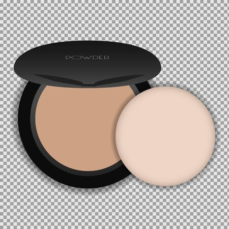 Compact powder with a sponge. Isolated vector illustration on a transparent background.