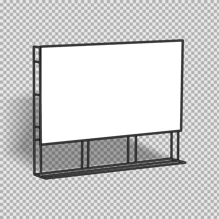 White vector advertising banner. Square banner, with metal construction isolated on transparent background Ilustrace