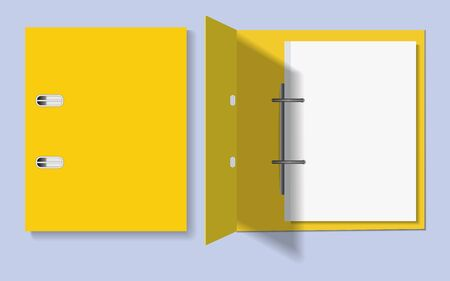 Yellow folder for papers closed and open. Vector mocap on a gray background. EPS 10
