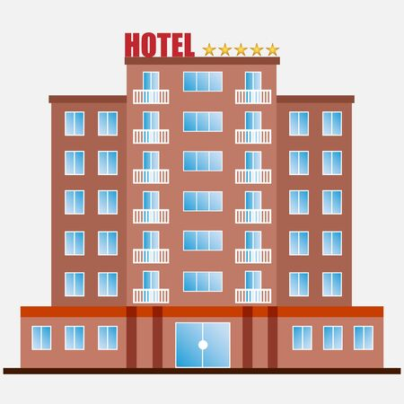Hotel building with windows and balconies on a white background. Illustration