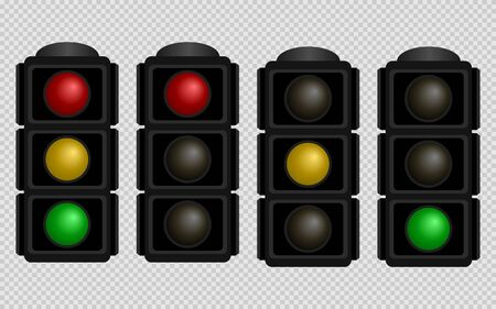 Traffic light. Set of traffic lights with red, yellow and green color on a transparent background. Isolated vector illustration. Ilustración de vector