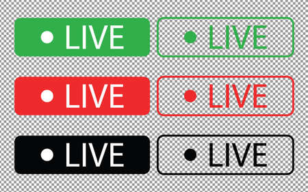 Red, green and black vibrant buttons on a white background. Live symbol, sign, badge, label, sticker template. Social media concept. Vector illustration eps 10.