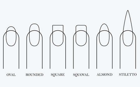 Forms of nails for manicure. Vector objects on a white background. EPS 10