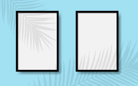 Black photo frames on a blue wall with realistic shadows of a palm tree. EPS 10