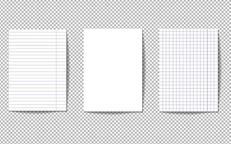 A set of three pages of a notebook. Sheets of paper are white, squared and in a line. Blank white sheets isolated on transparent background. School notebook paper. Realistic vector illustration. Vettoriali