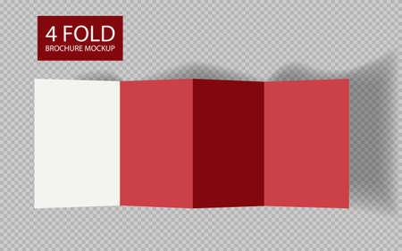 Zigzag white 4 page brochure mockup template. Vetores