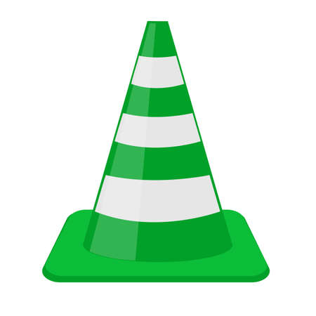 Traffic cone green and white on a transparent background.