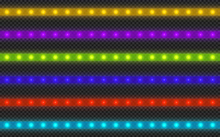Realistic led strip of different colors on a transparent background.