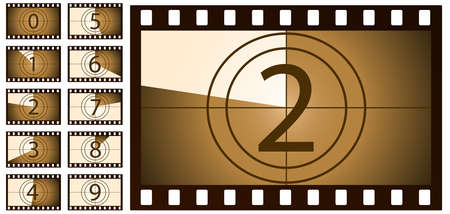 retro film countdown brown on white background. Isolated vector objects.